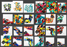 Mega collection of low poly triangle mosaic abstract backgrounds. Vector template background for print workflow layout, diagram, number options or web design Royalty Free Stock Images