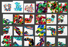 Mega collection of low poly triangle mosaic abstract backgrounds. Vector template background for print workflow layout, diagram, number options or web design Royalty Free Stock Photo