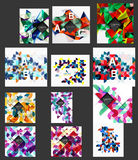 Mega collection of low poly triangle mosaic abstract backgrounds. Vector template background for print workflow layout, diagram, number options or web design Stock Photography