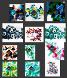 Mega collection of low poly triangle mosaic abstract backgrounds. Vector template background for print workflow layout, diagram, number options or web design Stock Photos