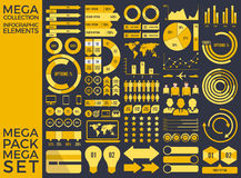 Mega Collection and Mega Set Infographic Elements Vector Design Stock Photos