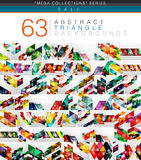 Mega collection of 63 modern color triangles abstract backgrounds stock illustration