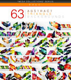 Mega collection of 63 modern color triangles abstract backgrounds Royalty Free Stock Photography