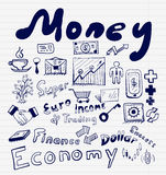 Mega collection of money finance, business and money concepts, hand drawn doodles. Icon set Stock Photo