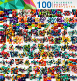 Mega collection of 100 mosaic low poly triangle abstract backgrounds Stock Photo