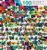 Mega collection of 100 mosaic low poly triangle abstract backgrounds Royalty Free Stock Image