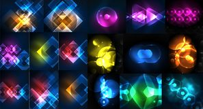 Mega collection of neon abstract shape backgrounds, magic fantastic glowing templates for web or techno digital Royalty Free Stock Photography