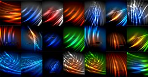 Mega collection of neon glowing lines, magic energy space light concept, abstract background wallpaper design. Vector illustration vector illustration