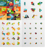 Mega collection of paper graphic banners, labels Royalty Free Stock Photo
