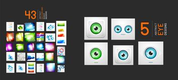 Mega collection of shiny abstract backgrounds and eye symbols Stock Photos