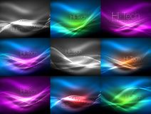 Mega collection of shiny glowing shapes on dark Stock Images