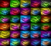 Mega collection of shiny glowing shapes on dark Stock Photo