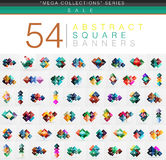 Mega collection of 54 square geometrical web banners. With option sample text. Glossy colorful origami style squares geometrical templates Stock Images