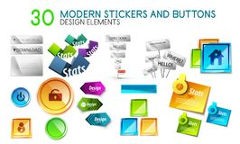 Mega collection of stickers and buttons Royalty Free Stock Image