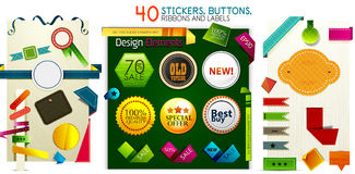 Mega collection of stickers buttons ribbons and labels Stock Photo