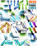 Mega collection of straight line backgrounds. Mega collection of straight line abstract vector backgrounds with copy space. For business / tech design templates Stock Photos