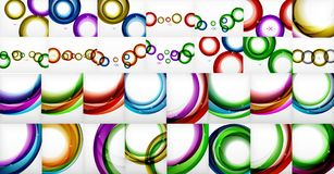 Mega collection of swirls and circles geometric abstract backgrounds, posters Stock Photos