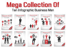 Mega collection of ten business man infographic option Stock Image