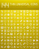 Mega collection of 144 thin line flat design internet icons. Arrows, user interface, social media and communication, eco and nature concepts and other Stock Photos