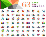 Mega collection of 63 triangle low poly design templates isolated on white Royalty Free Stock Image
