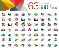 Mega collection of 63 triangle low poly design templates isolated on white Stock Photos