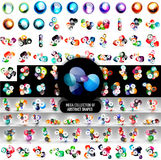 Mega collection of 100 vector abstract rounded shape icons and infographic banner templates. Overlapping circles and sphere icon designs. Business concepts or Royalty Free Stock Photos