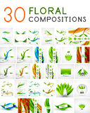 Mega collection of vector green leaf compositions. Wave line backgrounds Royalty Free Stock Images