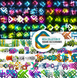 Mega collection of vector square abstract backgrounds. Mega collection of 100 vector square abstract backgrounds - glowing shapes, cut paper 3d elements and stock illustration