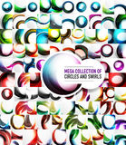 Mega collection of 100 vector swirl abstract backgrounds. Glowing aqua style glass spheres, cut circles - 3d wave elements and shiny layouts. Business Royalty Free Illustration