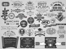 Mega collection vintage frame label retro Stock Photos