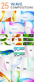 Mega collection of wave abstract compositions. Vector illustration Stock Image