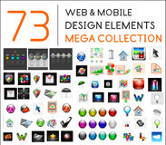 Mega collection of web mobile design elements Stock Photo