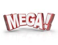 Mega 3d słowa ampuła Pisze list Dużą Ogromną Ogromną transakcję ilustracji