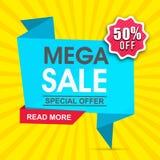 Mega design för för Sale pappersetikett eller baner Arkivbilder