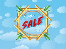 Mega discount sale poster in cartoon style Royalty Free Stock Photography