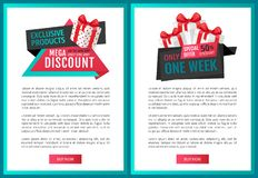 Mega Discounts, Price Reduction, Shop Clearance. Labels web pages vector. Best offer of shop, saving money. Present box with ribbon and bow, promo gift royalty free illustration