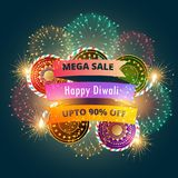 Mega diwali sale banner poster with fireworks. Vector Stock Photography