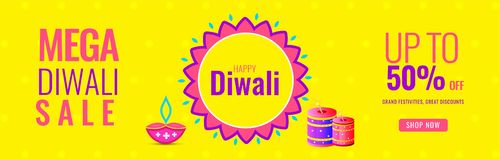 Mega Diwali Sale up to 50% discount offer with illustration of f. Irecrackers and oil lamps on yellow background. Website header or banner design royalty free illustration