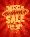 Mega explosionförsäljning, storewiderensningsdesign. Royaltyfri Fotografi