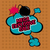 Mega explosive sale in comic stile, on cloud. Sale, big  red business background Royalty Free Stock Photo