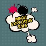 Mega explosive sale in comic stile, on cloud. Sale, big  red business background Stock Image