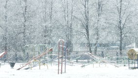 Mega extra big global snowfall loop on playground stock video