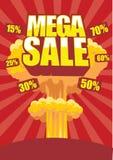 Mega försäljningsaffisch Arkivfoto