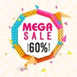 Mega försäljningsaffisch, baner eller reklambladdesign Arkivbilder
