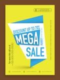 Mega försäljningsreklamblad, baner eller mall Royaltyfri Fotografi