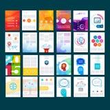 Mega- flache Ikonen und infographic Schablone Entwurf Stockbild