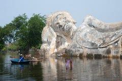 Mega flood in Ayuttaya,Middle of Thailand. Stock Image