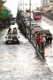 Mega flood in Bangkok. Bangkok, Thailand - OCTOBER 30: Heavy flooding from monsoon rain arriving in Bangkok suburbs on October 30, 2011 in Bangkok, Thailand Royalty Free Stock Photo