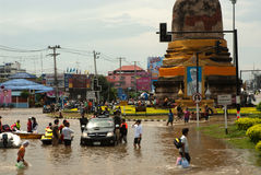 Mega flood in Thailand 2011. AYUTTHAYA, THAILAND - OCTOBER 9: Heavy flooding from monsoon rain in Ayutthaya and north Thailand arriving in Ayutthaya suburbs on Royalty Free Stock Images