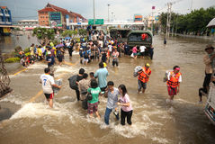 Mega flood in Thailand 2011. AYUTTHAYA, THAILAND - OCTOBER 9: Heavy flooding from monsoon rain in Ayutthaya and north Thailand arriving in Ayutthaya suburbs on Stock Images